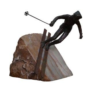 Curtis Jere Bronze Sculpture of Downhill Skier