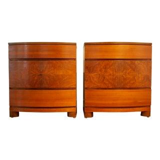 Art Deco Burl Wood Bachelor Chests - a Pair