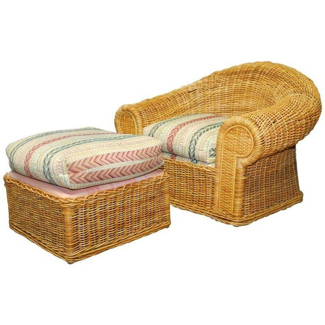 Michael Taylor Inspired Wicker Lounge Chair and Ottoman - Image 11 of 11