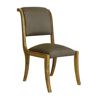 Gold Framed Striped Silk Side Chair