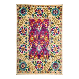 "Suzani Style Hand Knotted Area Rug - 6'2"" X 9'1"""