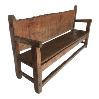 19th Century Rustic Scalloped Back Bench