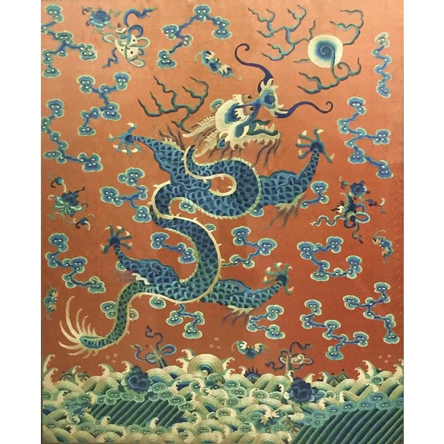 19th Century Imperial Chinese Silk Embroidery Dragon