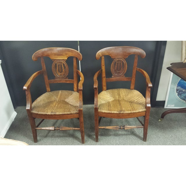 Antique French Lyre Back Armchairs - A Pair - Image 3 of 11