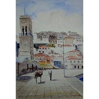 Italian Seaside Town Watercolor Painting