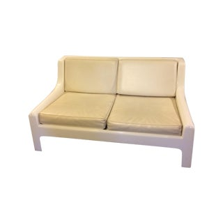 Danish Modern Fiberglass & Leather Sofa