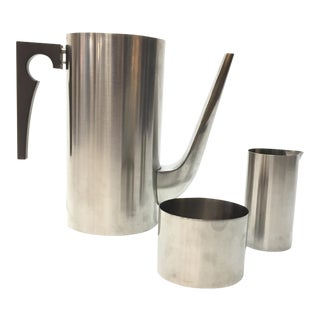 "Arne Jacobsen for Stelton Stainless Steel ""Cylinda"" Coffee Set - Set of 3"