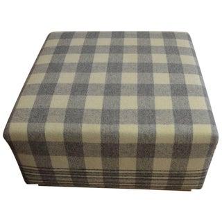 Vintage Wool Blanket Upholstered Ottoman