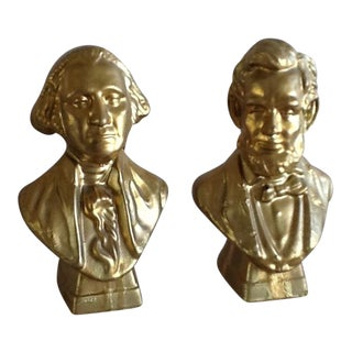 Mid-Century Lincoln & Washington Golden Cologne Bottle Busts - A Pair