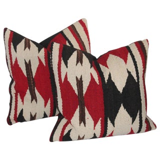 Pair of Strong Geometric Navajo Weaving Pillows