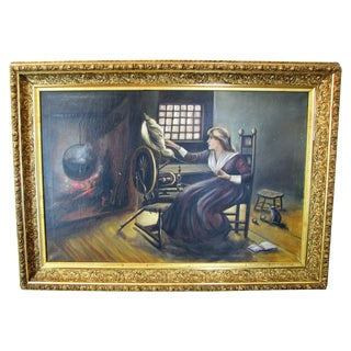 Woman And Spinning Wheel Oil Painting