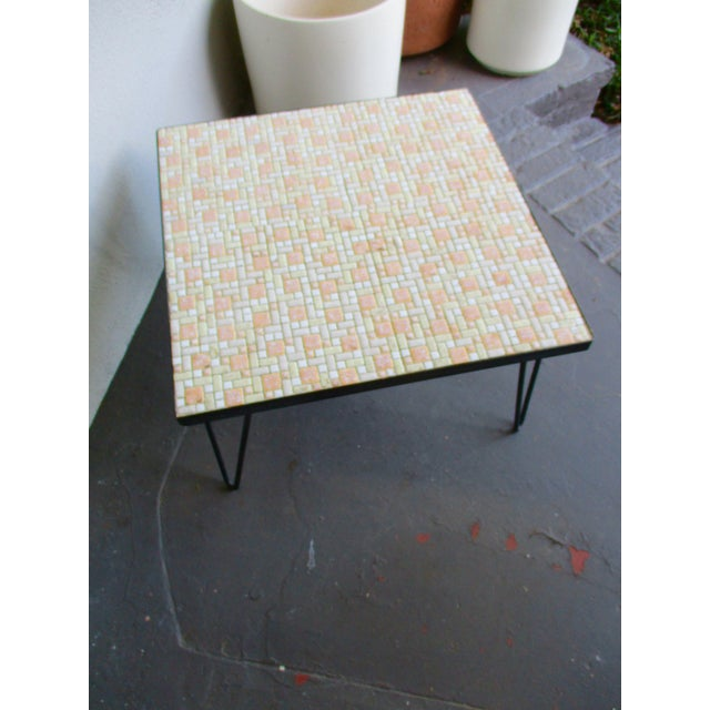 Mosaic Mid-Century Modern Orange and White Coffee Table Patio Furniture - Image 9 of 11