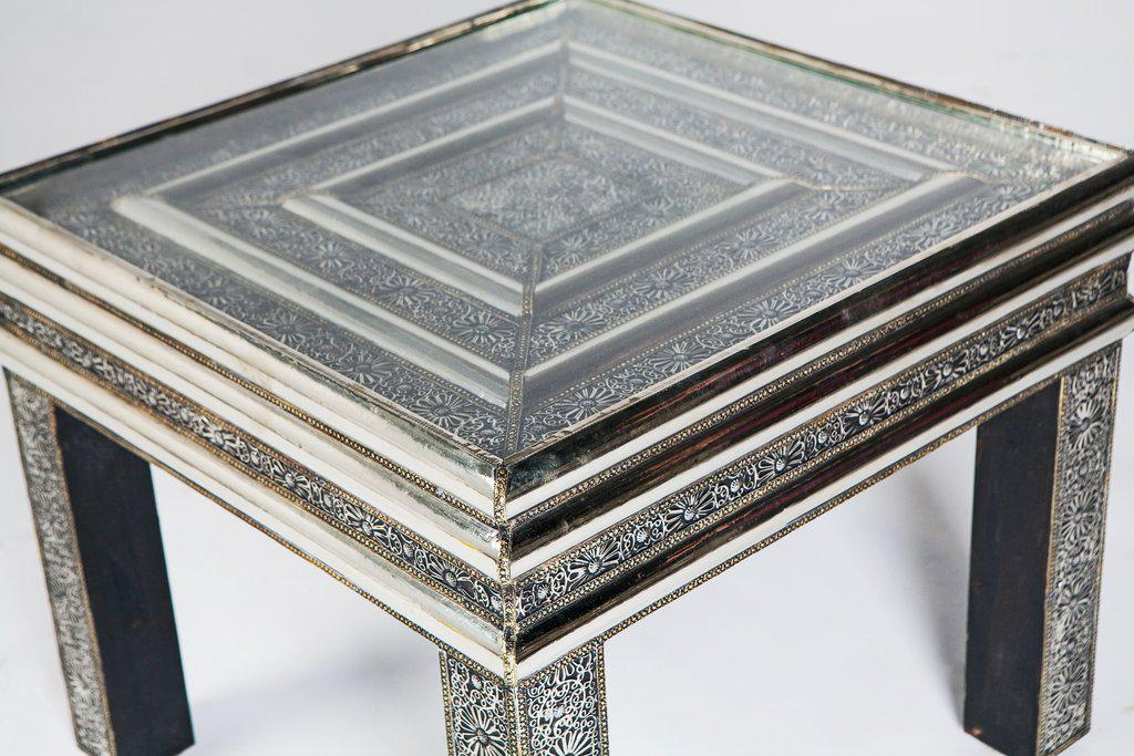 Moroccan Square Silver Metal Table With Glass Top   Image 3 Of 4