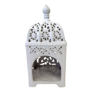 Marrakesh-Style White Ceramic Candleholder
