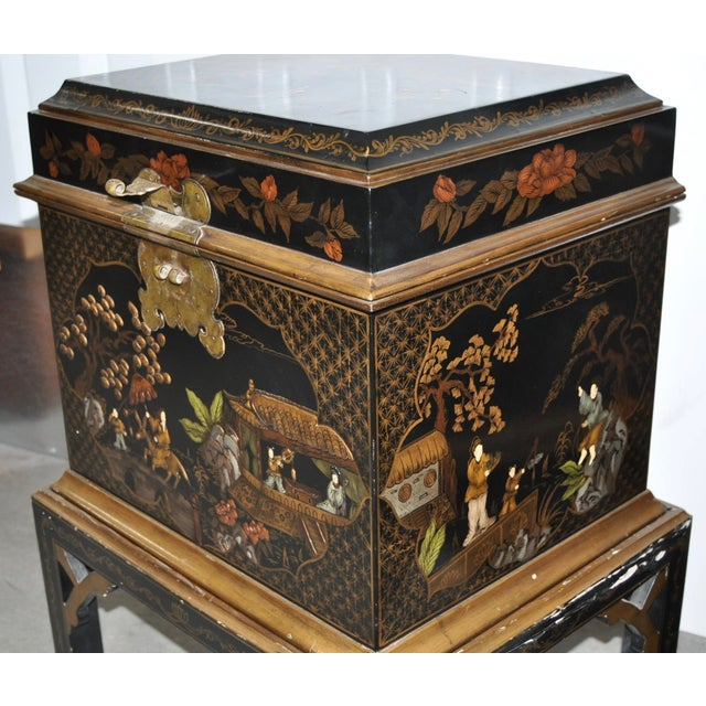 Vintage Chinoiserie Trunk Side Tables - A Pair - Image 7 of 8