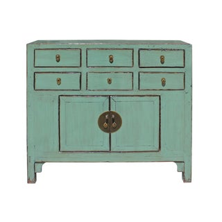 Chinese Turquoise Lacquer 6 Drawer Storage Cabinet