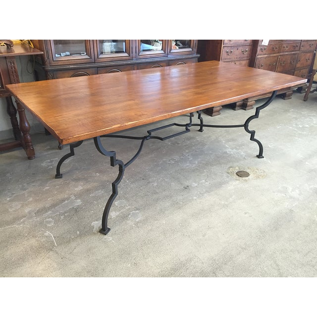Plank Trestle Table With Iron Base - Image 4 of 10