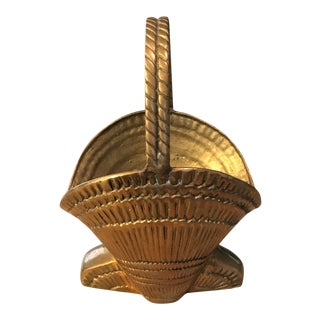 Vintage Solid Brass Sea Shell Shaped Basket with Handle