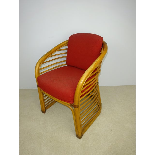 Mid-Century Deco Stylized Rattan Arm Chair - Image 4 of 10