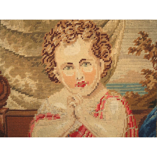 19th C Needlepoint Tapestry Portrait of Child Pillow - Image 3 of 7