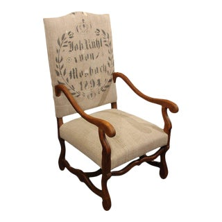 19th Century French Carved Wood Armchair in Homespun
