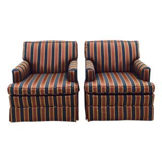 Vintage Navy Stripe Club Chairs - Pair