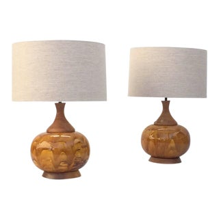 Large Drip Glazed Ceramic Lamps - A Pair