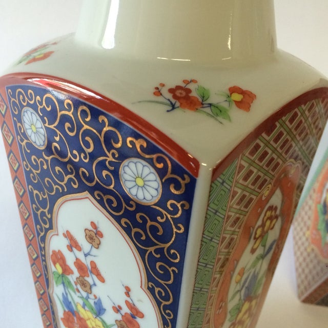 Chinoiserie Style Square Vases - A Pair - Image 10 of 10