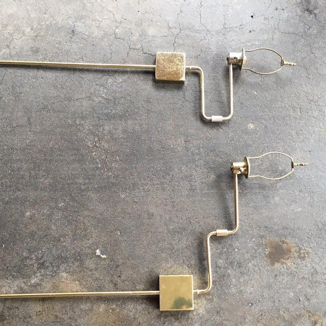 Image of Tall Brass Swing Arm Plug-In Sconces - a Pair