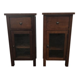 Rustic Side Tables / Nightstands + Glass Doors - a Pair