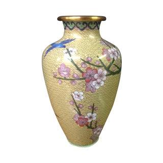 Pale Yellow Cloisonné Vase