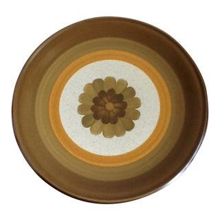 Mid-Century Floral Stoneware Platter