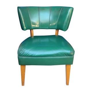 Mid Century Modern Curved Vinyl & Wood Chair