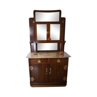Antique Art Nouveau Mahogany & Marble China Cabinet