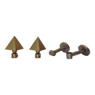 German Brushed Brass & Nickel Drapery Hardware - Set of 4