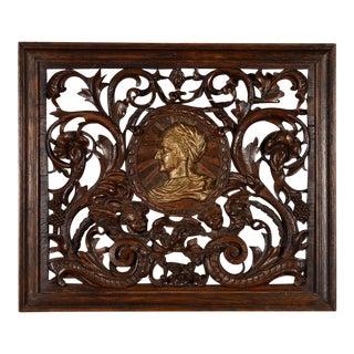 Antique Rococo Carved Wood Wall Panel