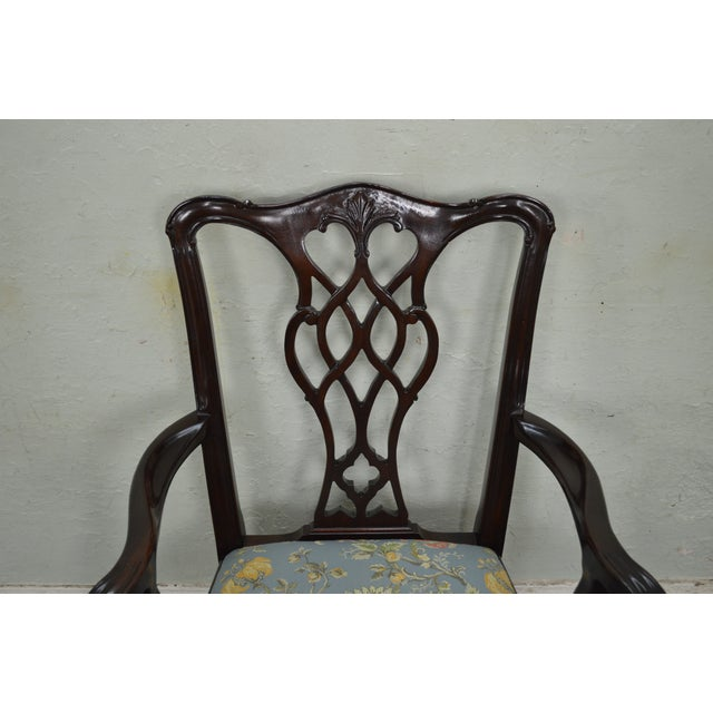 Councill Craftsman Solid Mahogany Chippendale Style Dining Chairs - Set of 8 - Image 9 of 10