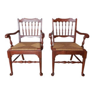 Pennsylvania House Candle Light Finish Banister Back Arm Chairs - A Pair