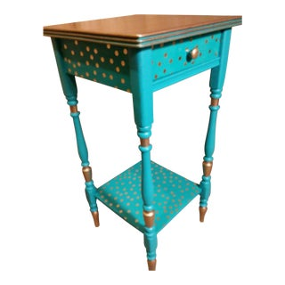 Polka Dot Decoupage Tiered Single Drawer Table