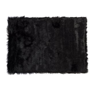 Hudson Faux Black Sheepskin Rug - 2′3″ × 3′