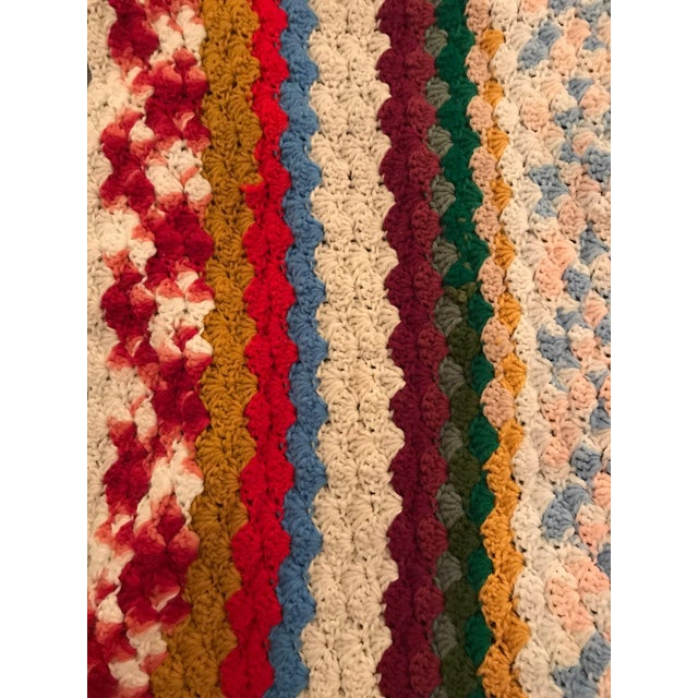 Vintage Rainbow Crochet Blanket - Image 4 of 5