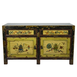Vintage Painted Chinese Motif Sideboard