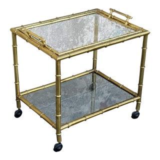 Vintage Gold Bamboo Bar Cart