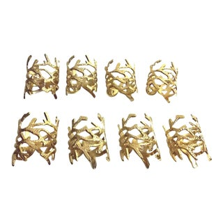 Coral Gold Napkin Rings - Set of 8
