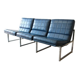 1970s Vintage Chromcraft Milo Baughman Style Three-Seat Sofa