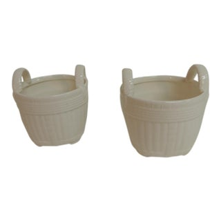 White Ceramic Baskets Candleholders - A Pair