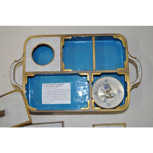Blue & White Cloisonne Enameled Desk Set - Image 4 of 11