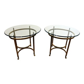 Regency Brass & Glass Hoof Foot End Tables - A Pair