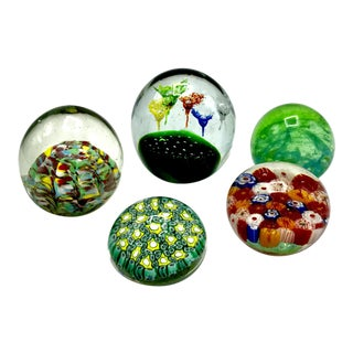 Murano Blown Glass Paperweight Collection - Set of 5