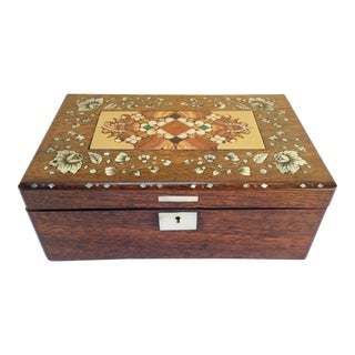 Antique Wood & Marble Insert Box